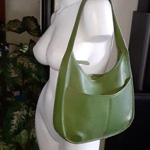Genuine leather moss green handbag
